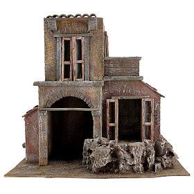House with hut nativity 35x38x25cm s1