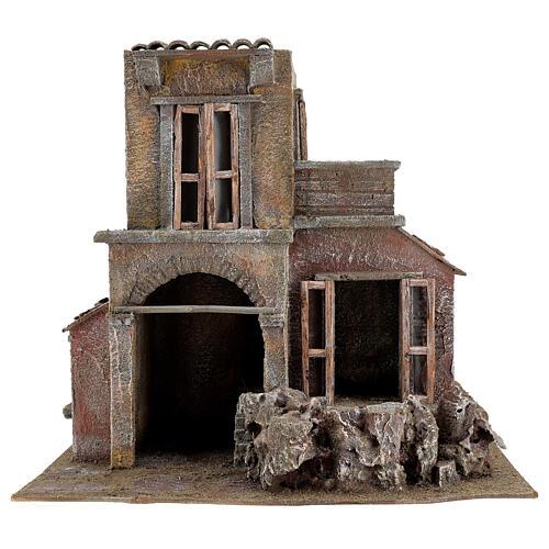 House with hut nativity 35x38x25cm 1