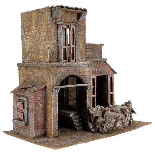 House with hut nativity 35x38x25cm 3