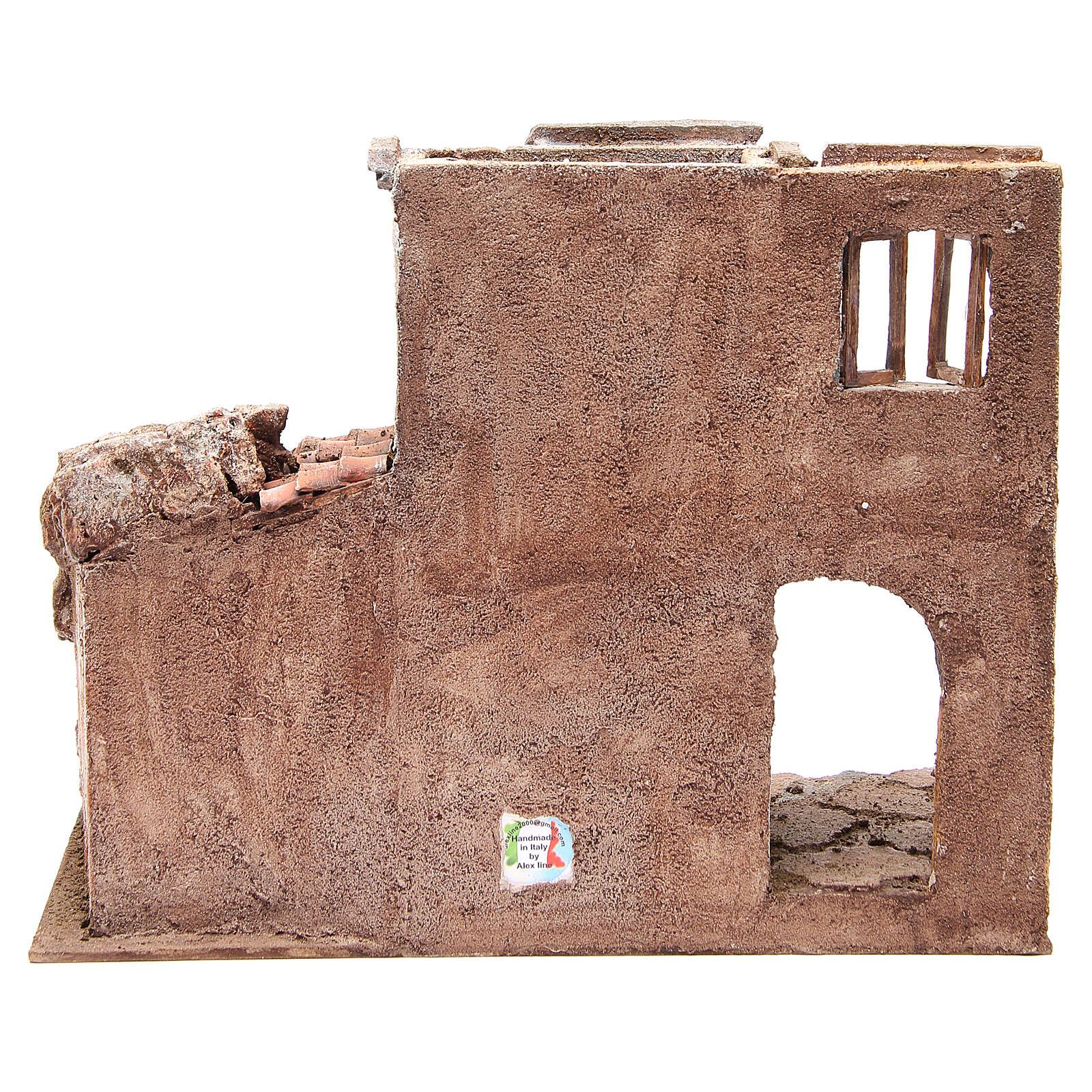 Borgo antico con capanna presepe cm 35x38x25 4