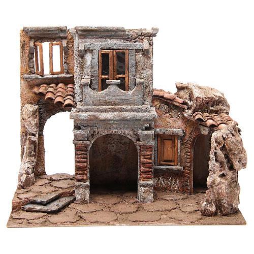 Borgo antico con capanna presepe cm 35x38x25 1
