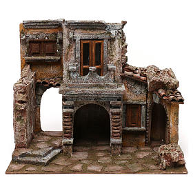 Antique Village with hut for nativity 35x38x25cm s5