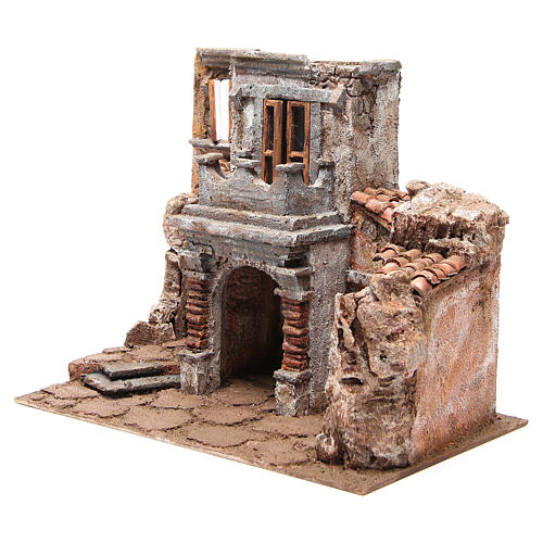 Antique Village with hut for nativity 35x38x25cm 2