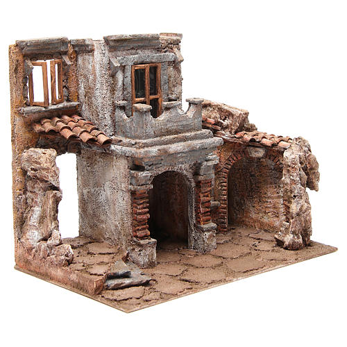 Antique Village with hut for nativity 35x38x25cm 3