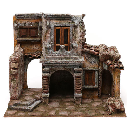 Antique Village with hut for nativity 35x38x25cm 5