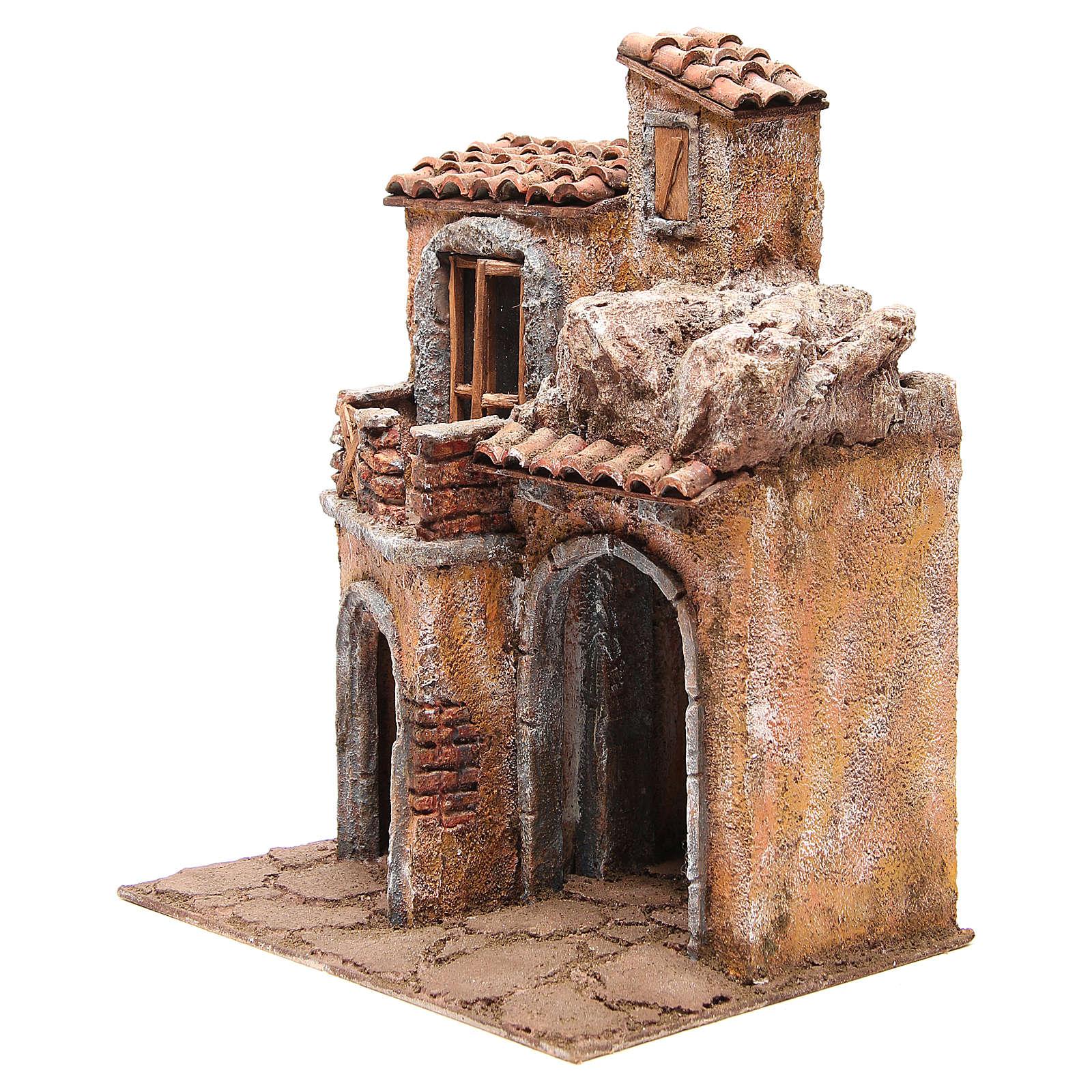 Aldea con casa y cabaña belén 35x29x22 cm 4