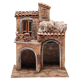 Bourgade avec maison et cabane crèche 35x29x22 cm s1