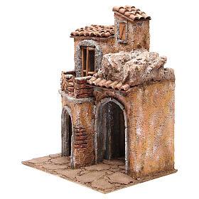 Bourgade avec maison et cabane crèche 35x29x22 cm s2
