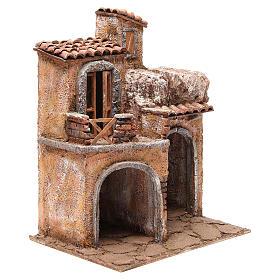 Bourgade avec maison et cabane crèche 35x29x22 cm s3