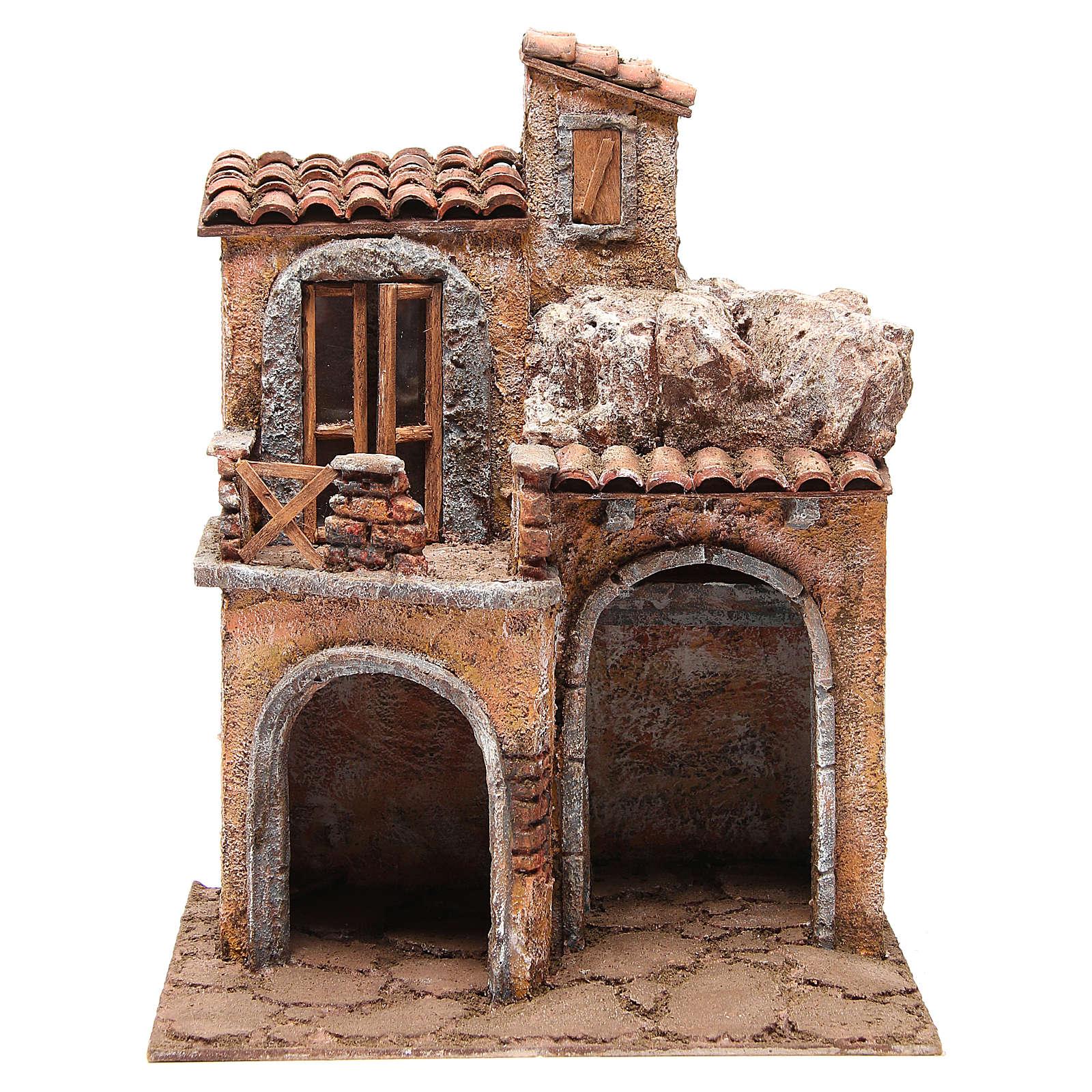 Borgo con casa e capanna presepe 35x29x22 cm 4