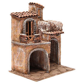 Borgo con casa e capanna presepe 35x29x22 cm s3