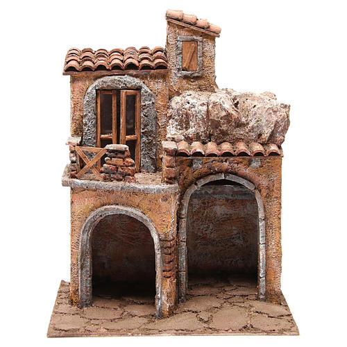 Borgo con casa e capanna presepe 35x29x22 cm 1