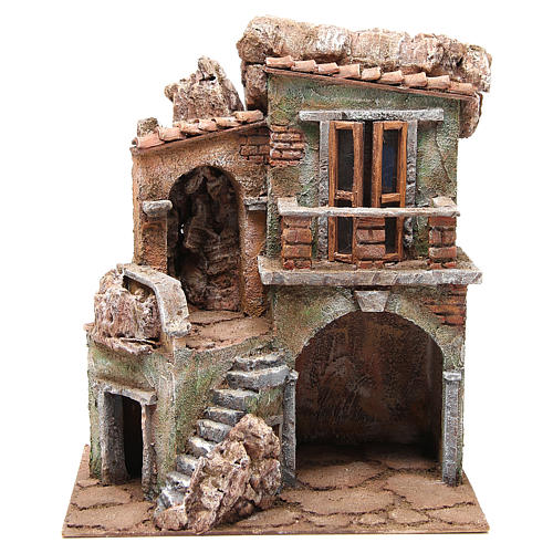 Casa con capanna del presepe cm 35x29x22 cm 1