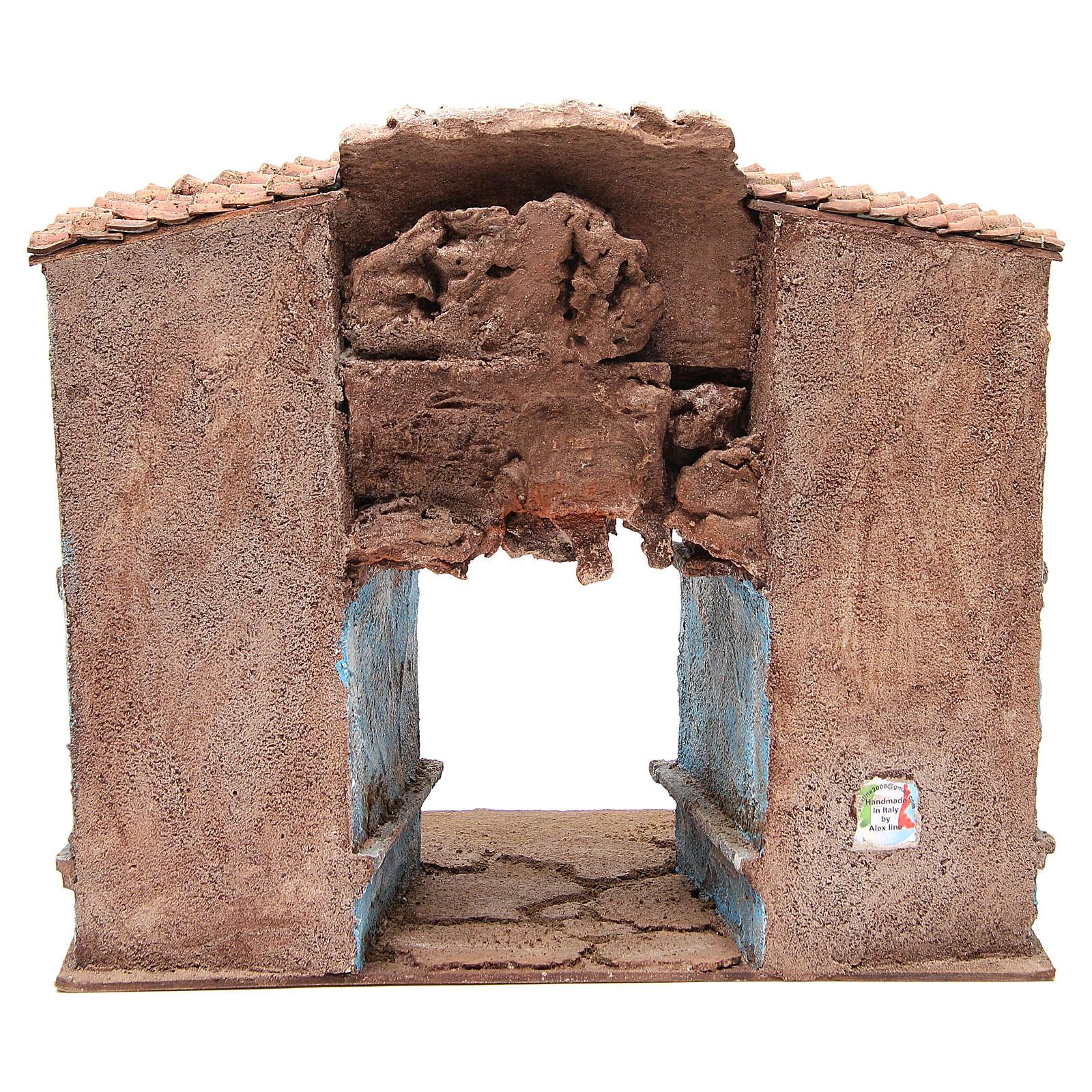 Borgo del presepe con capanna 35x38x25 cm 4