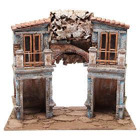 Borgo del presepe con capanna 35x38x25 cm s1
