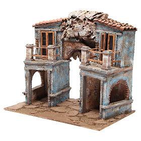 Borgo del presepe con capanna 35x38x25 cm s2