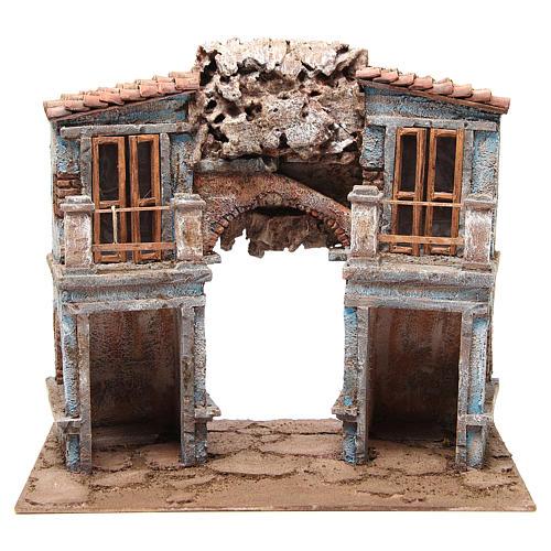 Borgo del presepe con capanna 35x38x25 cm 1