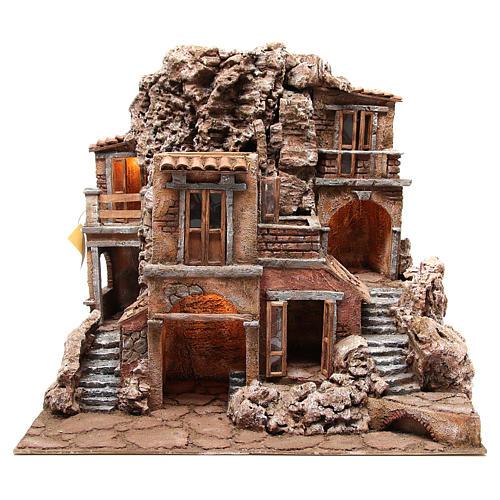 Borgo rustico illuminato con capanna 55x60x50 cm presepe 10 cm 1