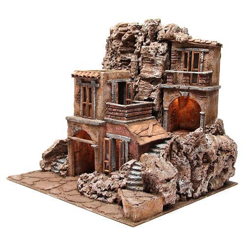 Borgo rustico illuminato con capanna 55x60x50 cm presepe 10 cm 2