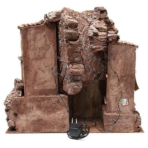 Borgo rustico illuminato con capanna 55x60x50 cm presepe 10 cm 4