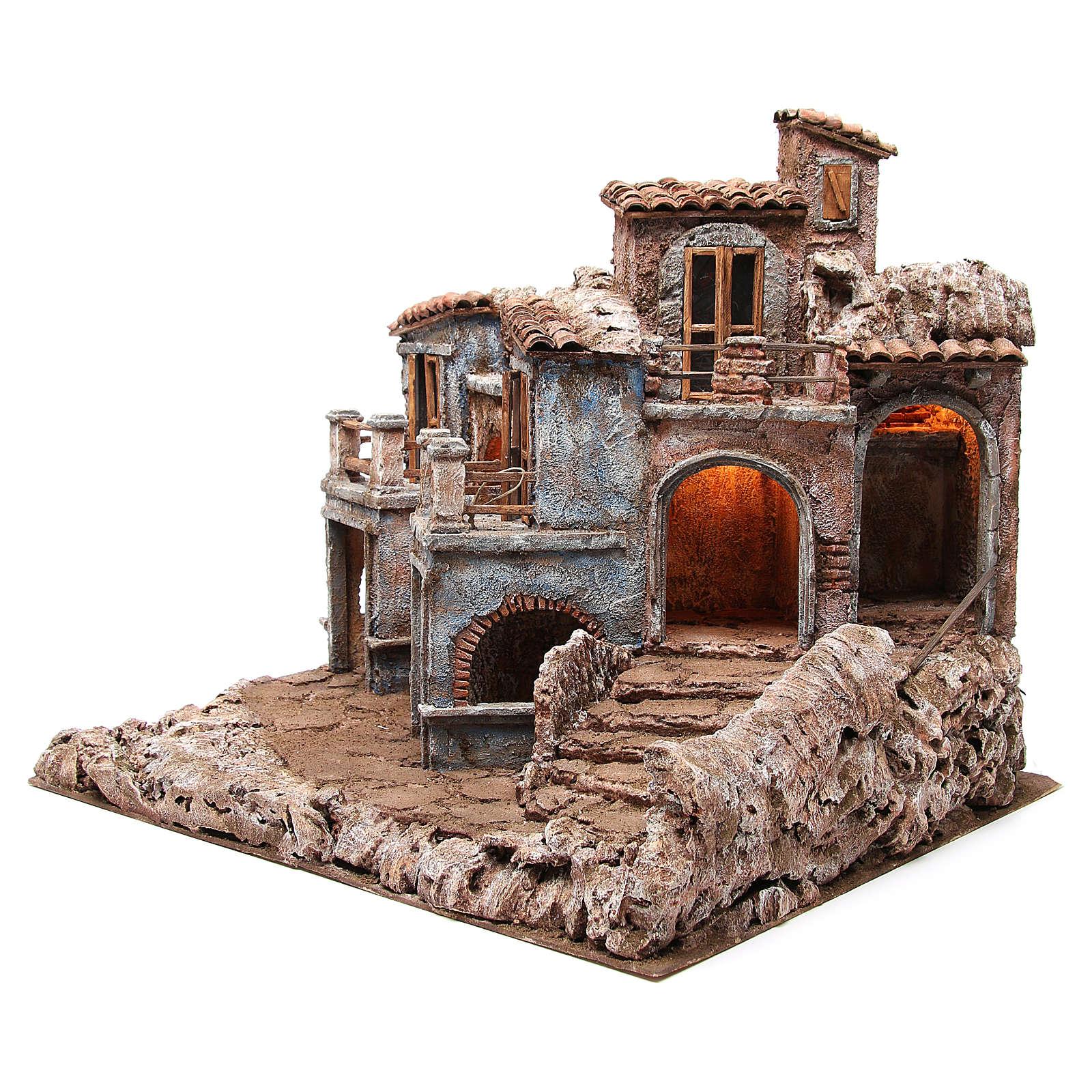 Aldea antigua del belén con cabaña 55x60x50 cm 4