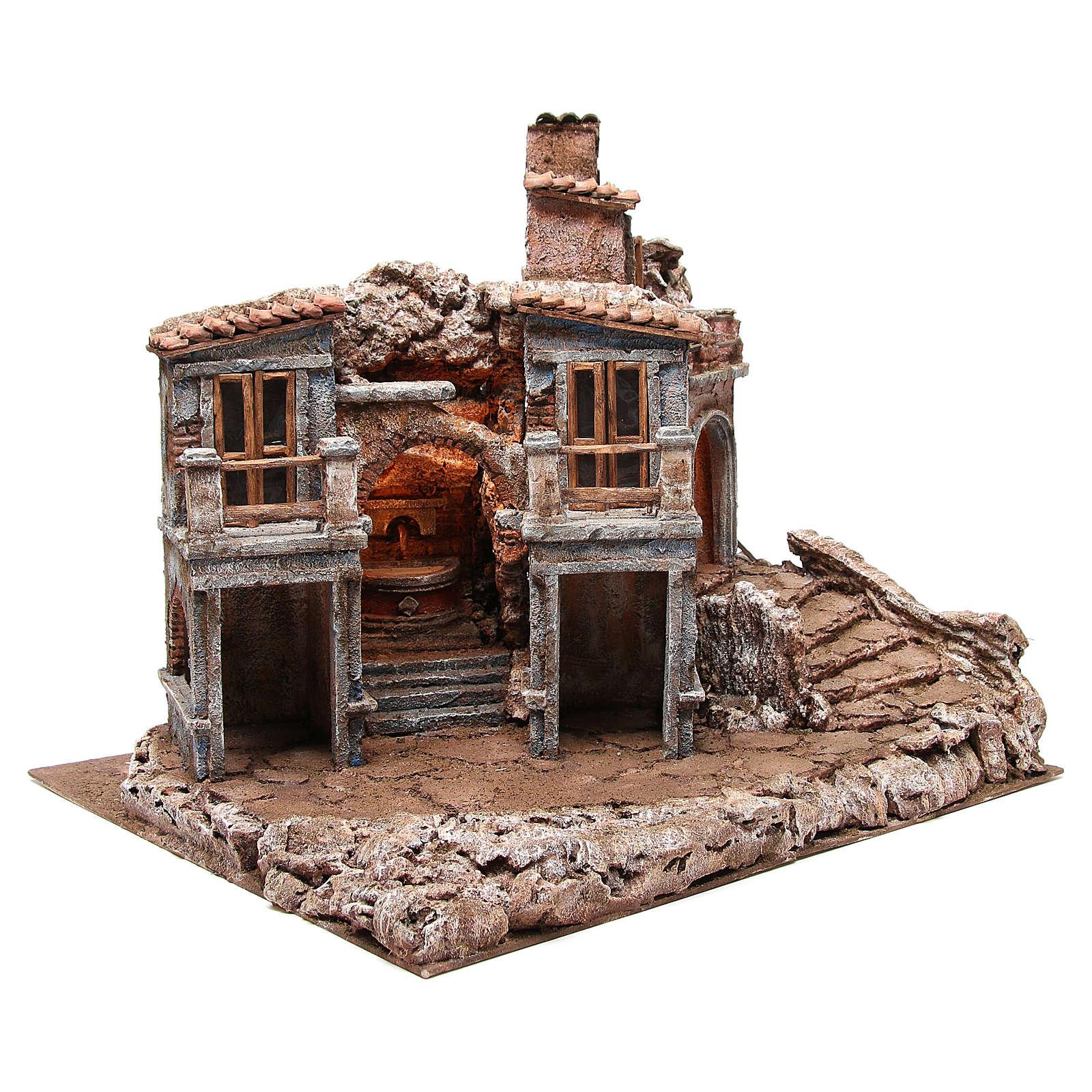 Bourgade ancienne de crèche avec cabane 55x60x50 cm 4