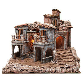 Borgo antico del presepe con capanna 55x60x50 cm s1
