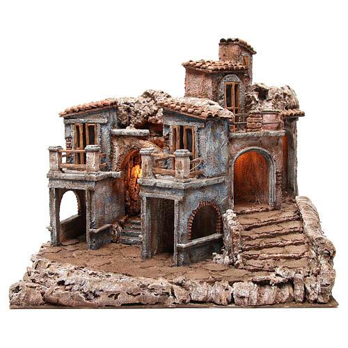 Borgo antico del presepe con capanna 55x60x50 cm 1