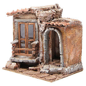 Little Hut with terracotta shingles Nativity 20x25x15cm s2