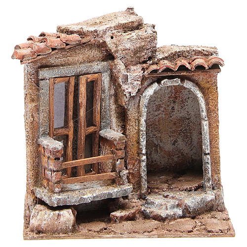 Little Hut with terracotta shingles Nativity 20x25x15cm 1