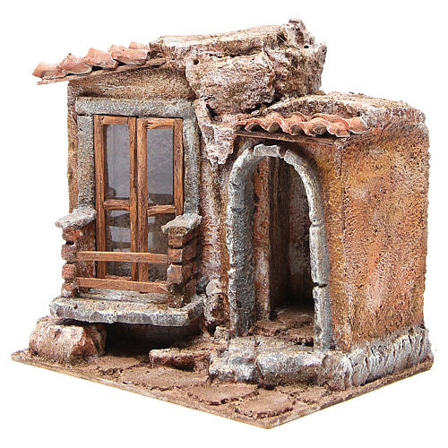 Little Hut with terracotta shingles Nativity 20x25x15cm 2