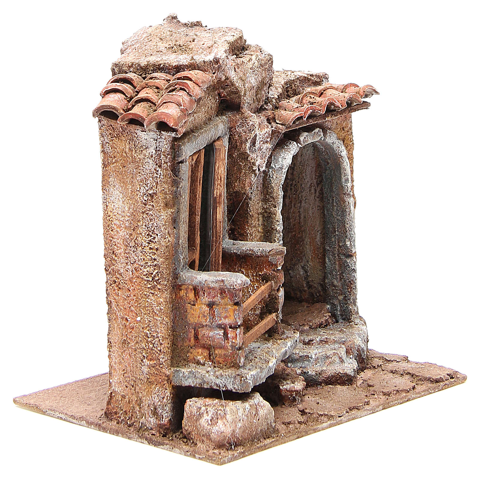 Little Hut with terracotta shingles Nativity 20x25x15cm 4