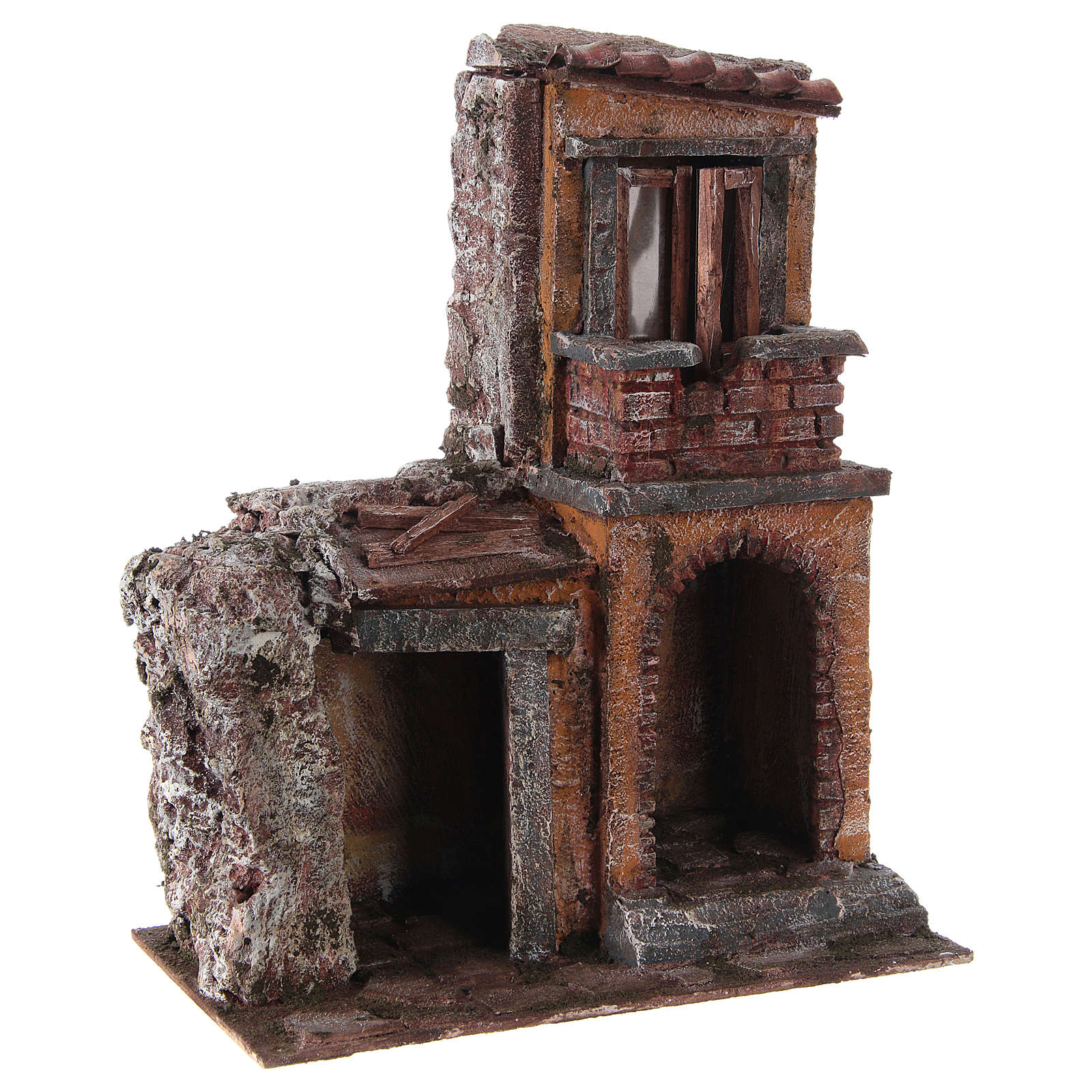 House with rustic hut Nativity 30x25x15cm 4