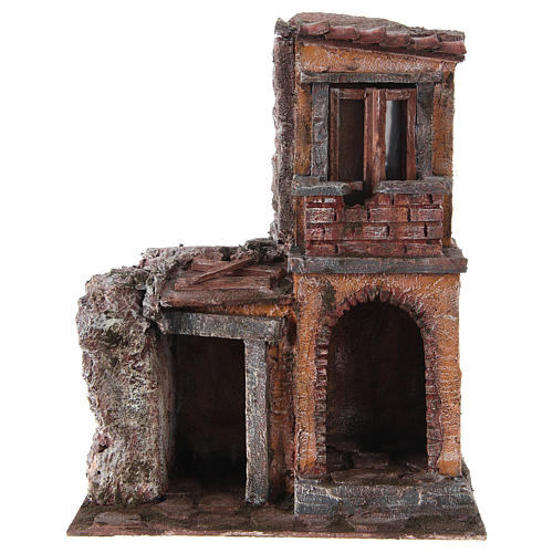 House with rustic hut Nativity 30x25x15cm 1