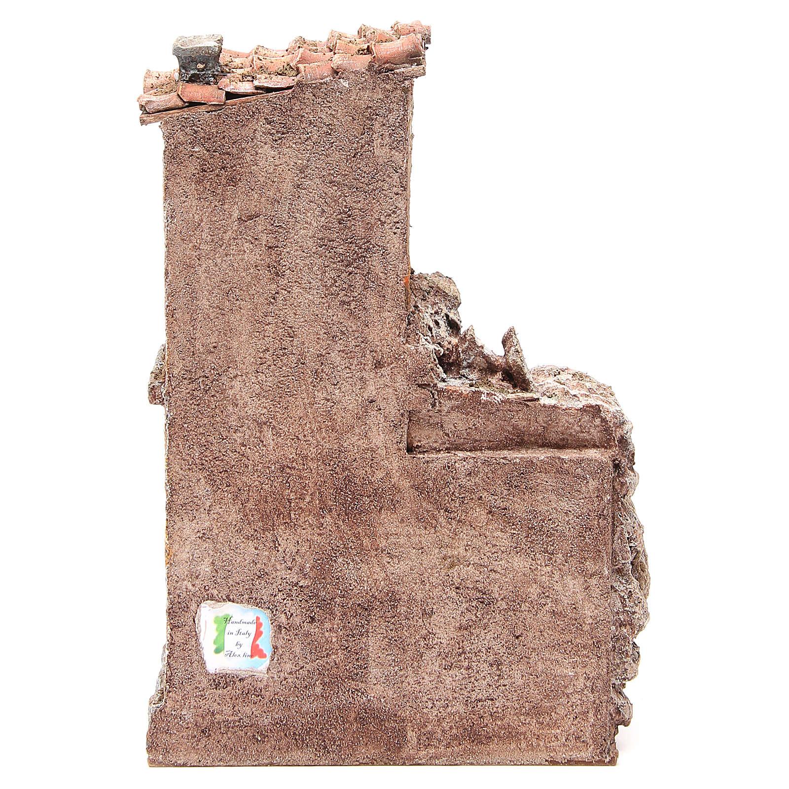 Casa con capanna rustica presepe 30x25x15 cm 4