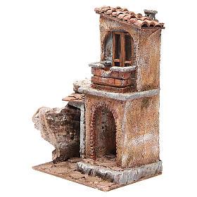 Casa con capanna rustica presepe 30x25x15 cm s2