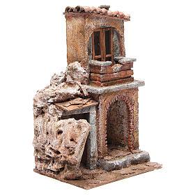 Casa con capanna rustica presepe 30x25x15 cm s3
