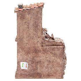 Casa con capanna rustica presepe 30x25x15 cm s4