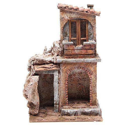 Casa con capanna rustica presepe 30x25x15 cm 1