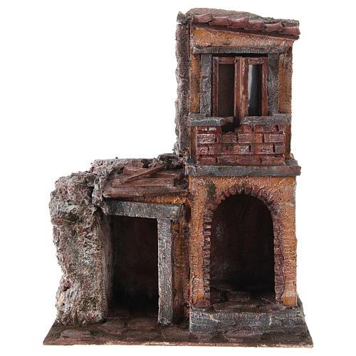 Casa con capanna rustica presepe 10 cm 30x25x15 cm 1