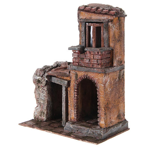 House with rustic hut Nativity 30x25x15cm 2