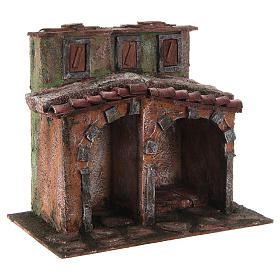 Small house with rustic hut Nativity 20x25x15cm s3