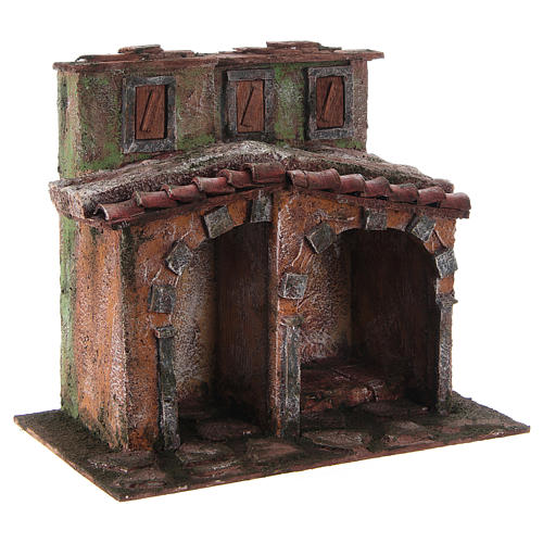 Small house with rustic hut Nativity 20x25x15cm 3