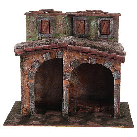 Maisonnette avec cabane rustique crèche 20x25x15 cm s1