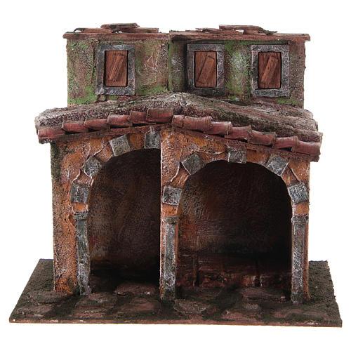 Maisonnette avec cabane rustique crèche 20x25x15 cm 1