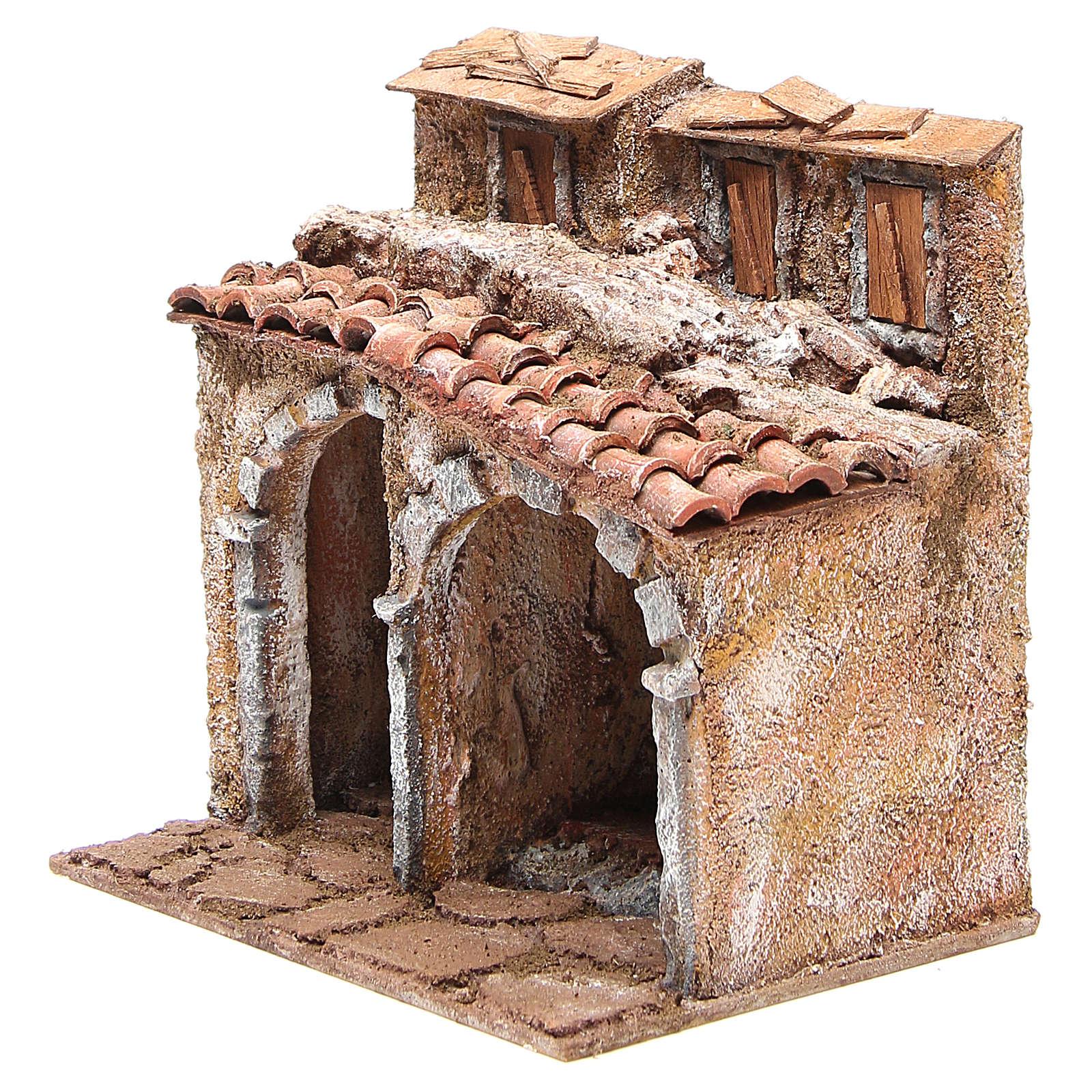 Casetta con capanna rustica presepe 20x25x15 4
