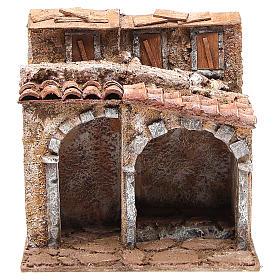 Casetta con capanna rustica presepe 20x25x15 s1