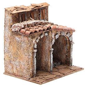Casetta con capanna rustica presepe 20x25x15 s3