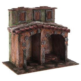 Casetta con capanna rustica presepe 10 cm 20x25x15 s3