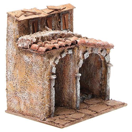 Casetta con capanna rustica presepe 20x25x15 3